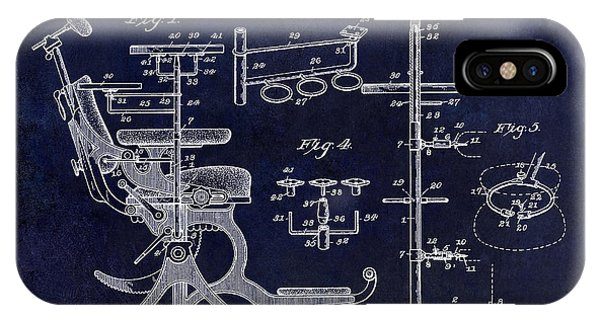 1895 iPhone Case - 1895 Dental Chair Patent Drawing Blue by Jon Neidert