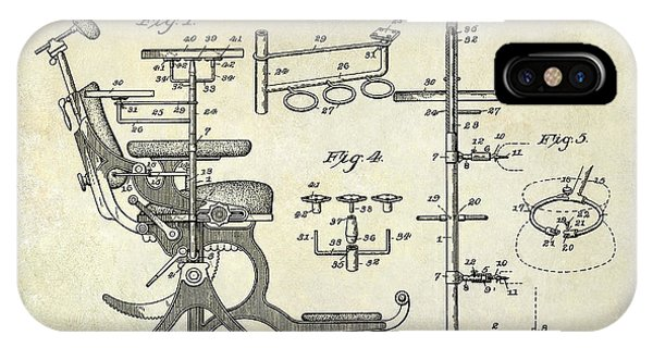 1895 iPhone Case - 1895 Dental Chair Patent Drawing  by Jon Neidert