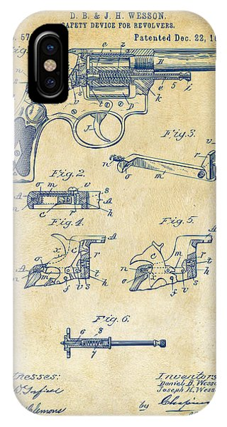 Weapons iPhone Case - 1896 Wesson Safety Device Revolver Patent Artwork - Vintage by Nikki Marie Smith