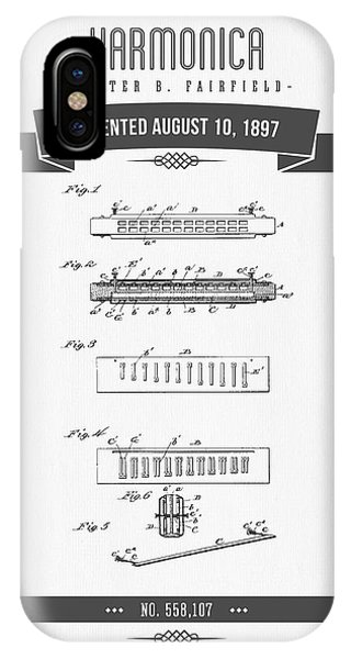 Harp iPhone Case - 1897 Harmonica Patent Drawing by Aged Pixel