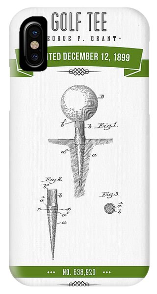 Golf Ball iPhone Case - 1899 Golf Tee Patent Drawing - Retro Green by Aged Pixel