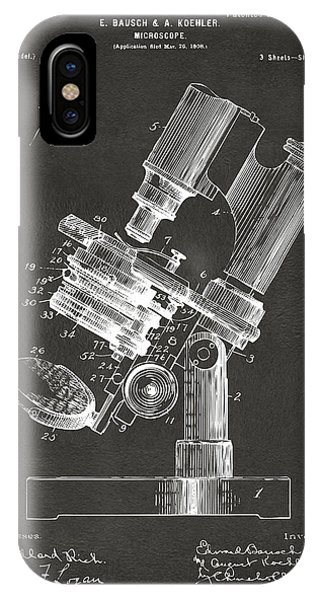 Patent Office iPhone Case - 1899 Microscope Patent Gray by Nikki Marie Smith