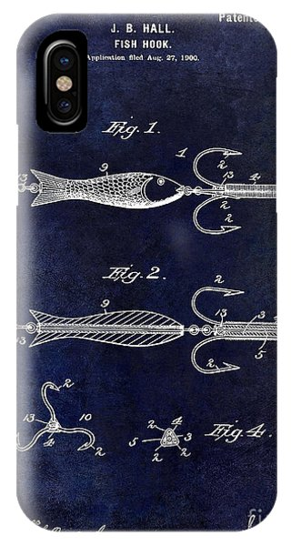 1900 Fishing Hook Patent Drawing Blue IPhone Case