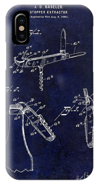 1901 Corkscrew Patent Drawing Blue IPhone Case