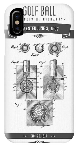 Golf Ball iPhone Case - 1902 Golf Ball Patent Drawing - Retro Gray by Aged Pixel