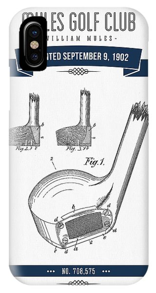 Golf Ball iPhone Case - 1902 Mules Golf Club Patent Drawing - Retro Navy Blue by Aged Pixel