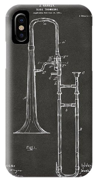 Trombone iPhone X Case - 1902 Slide Trombone Patent Artwork - Gray by Nikki Marie Smith