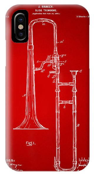 Trombone iPhone Case - 1902 Slide Trombone Patent Artwork Red by Nikki Marie Smith