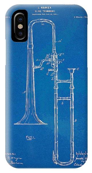 Trombone iPhone X Case - 1902 Slide Trombone Patent Blueprint by Nikki Marie Smith