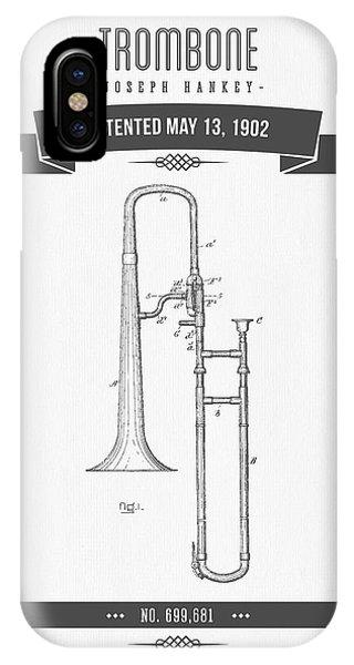 Trombone iPhone X Case - 1902 Trombone Patent Drawing by Aged Pixel