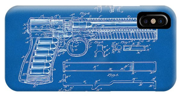 Weapons iPhone Case - 1903 Mcclean Pistol Patent Artwork - Blueprint by Nikki Marie Smith