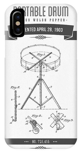 1903 Portable Drum Patent Drawing IPhone Case