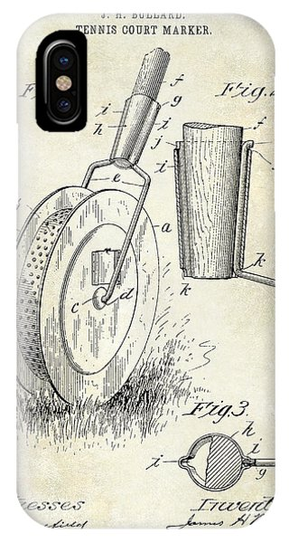 Racquet iPhone Case - 1903 Tennis Court Marker Patent Drawing by Jon Neidert