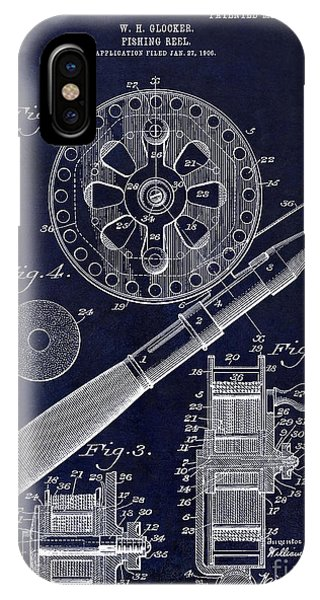 Bahamas iPhone Case - 1906 Fishing Reel Patent Drawing Blue by Jon Neidert
