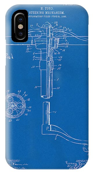 1907 Henry Ford Steering Wheel Patent Blueprint IPhone Case