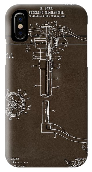 1907 Henry Ford Steering Wheel Patent Espresso IPhone Case