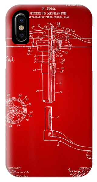 1907 Henry Ford Steering Wheel Patent Red IPhone Case
