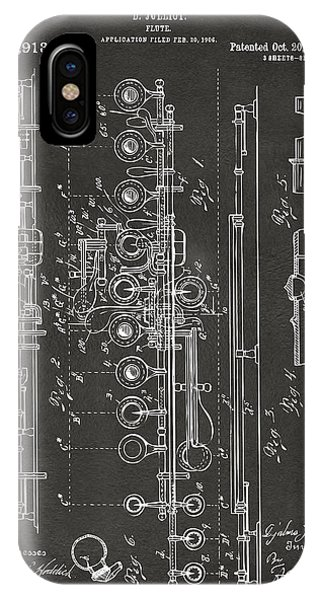 Patent Office iPhone Case - 1908 Flute Patent - Gray by Nikki Marie Smith