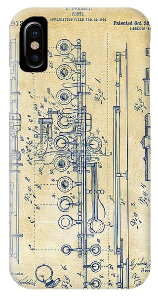 IPhone Case featuring the digital art 1908 Flute Patent - Vintage by Nikki Marie Smith