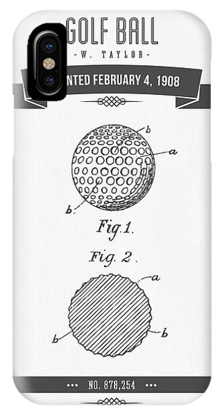 Golf Ball iPhone Case - 1908 Taylor Golf Ball Patent Drawing - Retro Gray by Aged Pixel