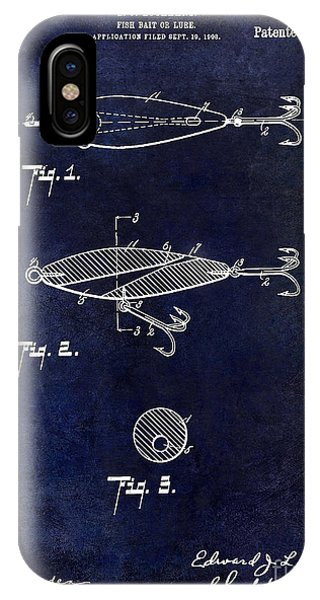 1909 Fishing Lure Patent Drawing Blue IPhone Case