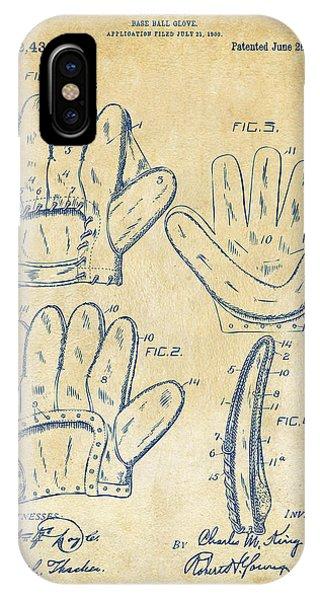 1910 Baseball Glove Patent Artwork Vintage IPhone Case