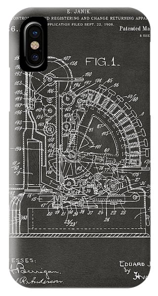 1910 Cash Register Patent Gray IPhone Case