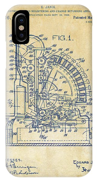 1910 Cash Register Patent Vintage IPhone Case