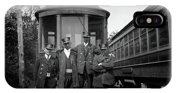 Trolley Car iPhone Case - 1910s 1920s 4 Men Conductors Motormen by Vintage Images