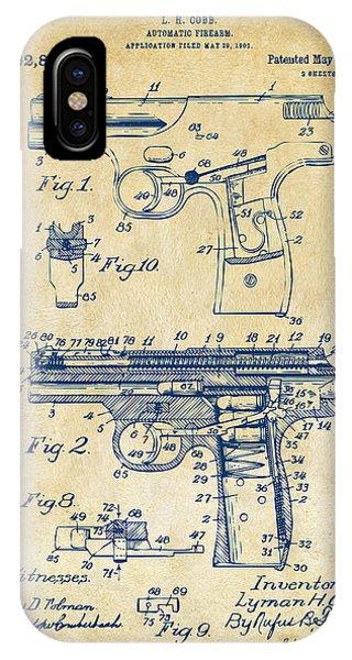 1911 Automatic Firearm Patent Artwork - Vintage IPhone Case
