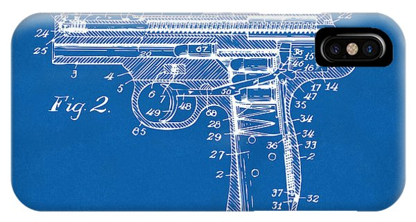 Weapons iPhone Case - 1911 Automatic Firearm Patent Minimal - Blueprint by Nikki Marie Smith