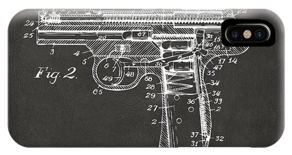 Weapons iPhone Case - 1911 Automatic Firearm Patent Minimal - Gray by Nikki Marie Smith