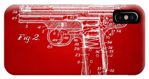 Weapons iPhone Case - 1911 Automatic Firearm Patent Minimal - Red by Nikki Marie Smith
