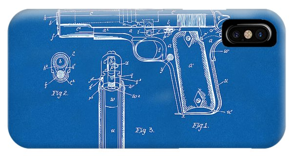 Weapons iPhone Case - 1911 Colt 45 Browning Firearm Patent Artwork Blueprint by Nikki Marie Smith
