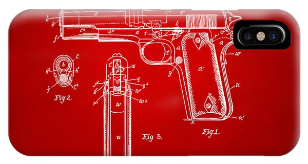 Weapons iPhone Case - 1911 Colt 45 Browning Firearm Patent Artwork Red by Nikki Marie Smith
