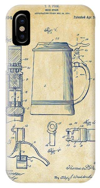 1914 Beer Stein Patent Artwork - Vintage IPhone Case