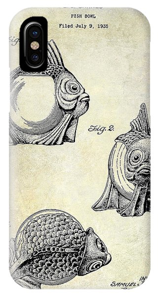 1915 Fish Bowl Patent Drawing  IPhone Case