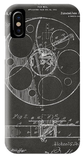 Manly iPhone Case - 1915 Movie Film Reel Patent Gray by Nikki Marie Smith