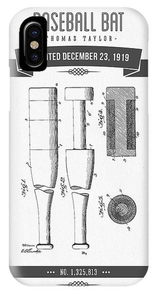 1919 Baseball Bat Patent Drawing IPhone Case