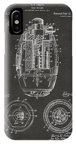 Weapons iPhone Case - 1919 Hand Grenade Patent Artwork - Gray by Nikki Marie Smith