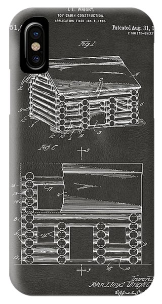 1920 Lincoln Logs Patent Artwork - Gray IPhone Case