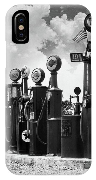 1920s 1930s Line Of Gasoline Pumps IPhone Case
