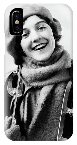 Knit Hat iPhone Case - 1920s 1930s Smiling Woman Dressed by Vintage Images