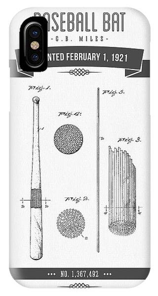 1921 Baseball Bat Patent Drawing IPhone Case