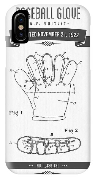 1922 Baseball Glove Patent Drawing IPhone Case