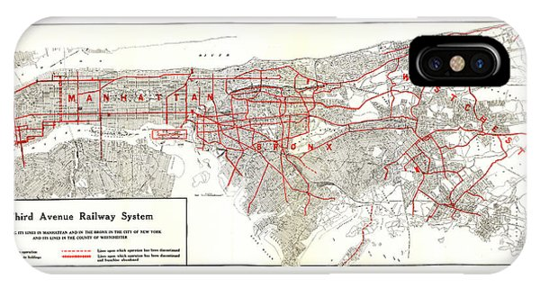 1922 Map Third Avenue Railway IPhone Case