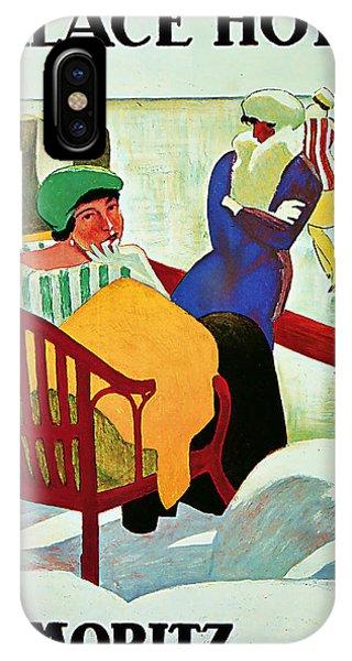 1922 Palace Hotel St Moritz - Vintage Travel Art IPhone Case
