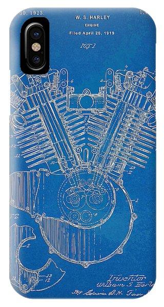 Patent Office iPhone Case - 1923 Harley Davidson Engine Patent Artwork - Blueprint by Nikki Smith