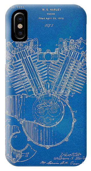 1923 Harley Davidson Engine Patent Artwork - Blueprint IPhone Case