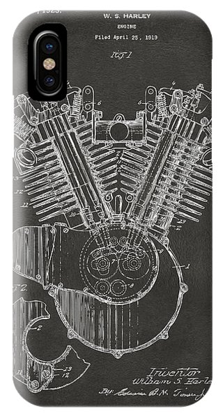 Den iPhone Case - 1923 Harley Engine Patent Art - Gray by Nikki Marie Smith